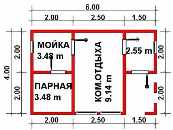 Схема бани Кладезь-2 4х6 м
