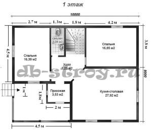 планировка первого этажа, проект коттеджа ДБ-52